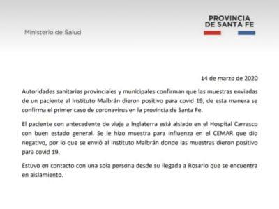 Primer caso de Coronavirus en Rosario 39