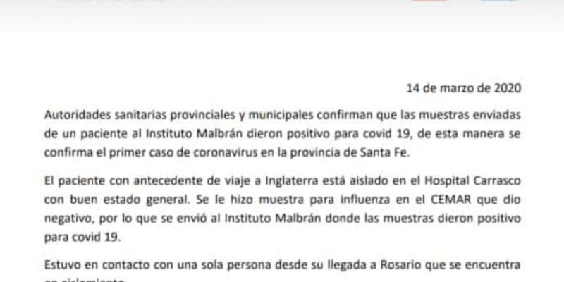 Primer caso de Coronavirus en Rosario 33