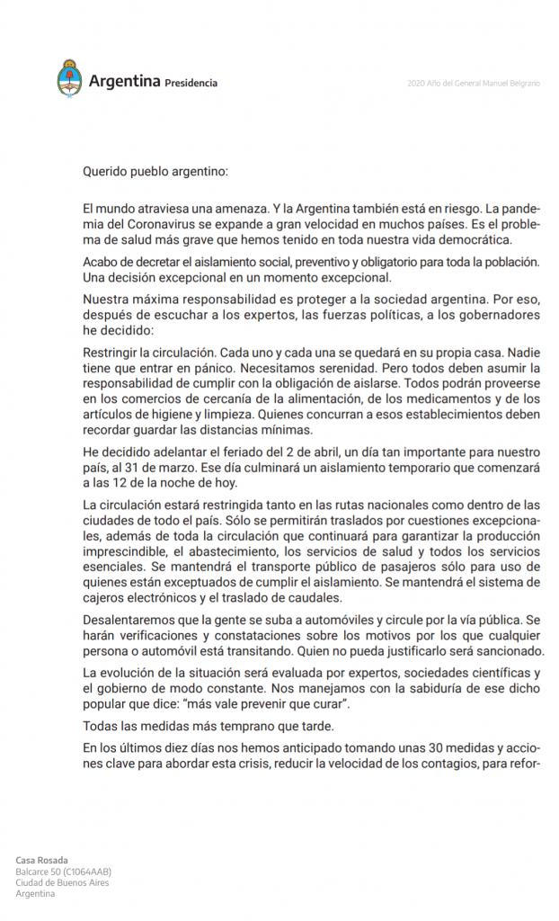 CORONAVIRUS: el Presidente de la Nación Argentina decretó el aislamiento 2