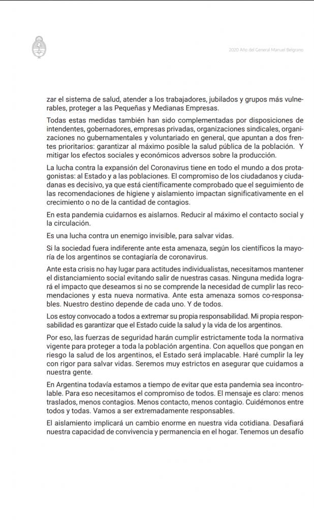 CORONAVIRUS: el Presidente de la Nación Argentina decretó el aislamiento 3
