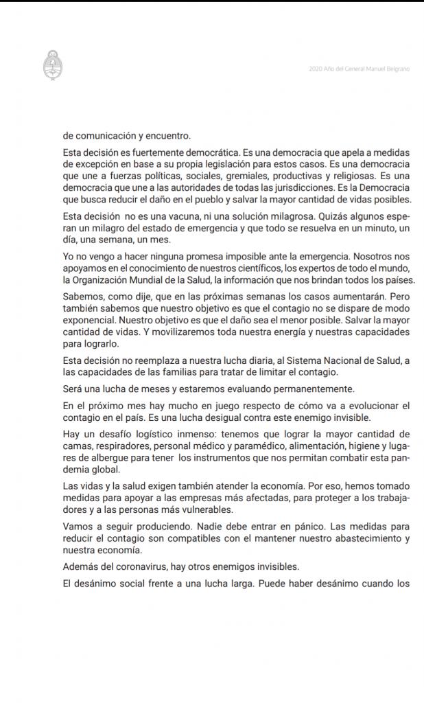 CORONAVIRUS: el Presidente de la Nación Argentina decretó el aislamiento 4