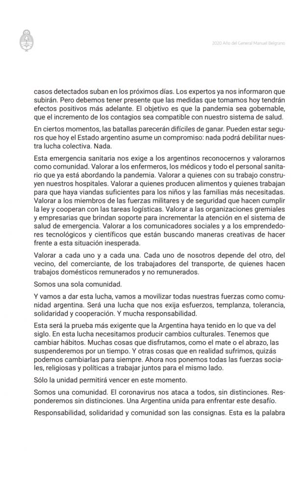 CORONAVIRUS: el Presidente de la Nación Argentina decretó el aislamiento 5