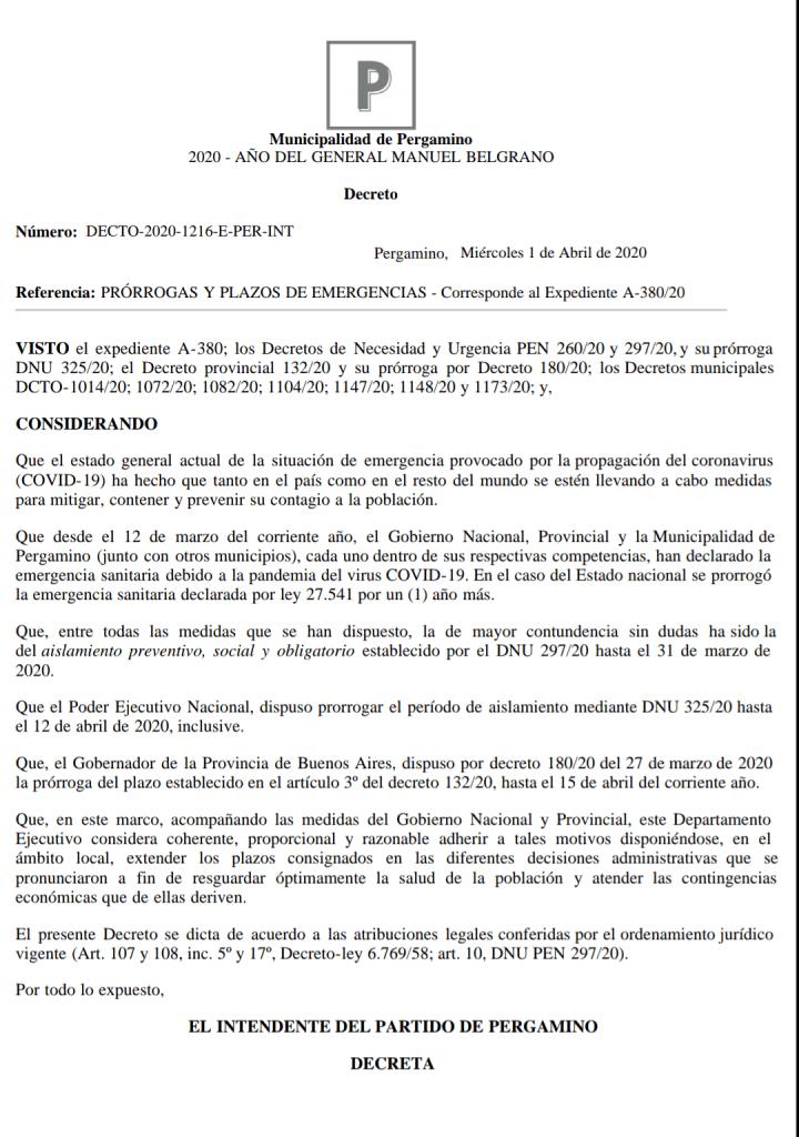 Nuevo Decreto Municipal referido a prórrogas y plazos 2