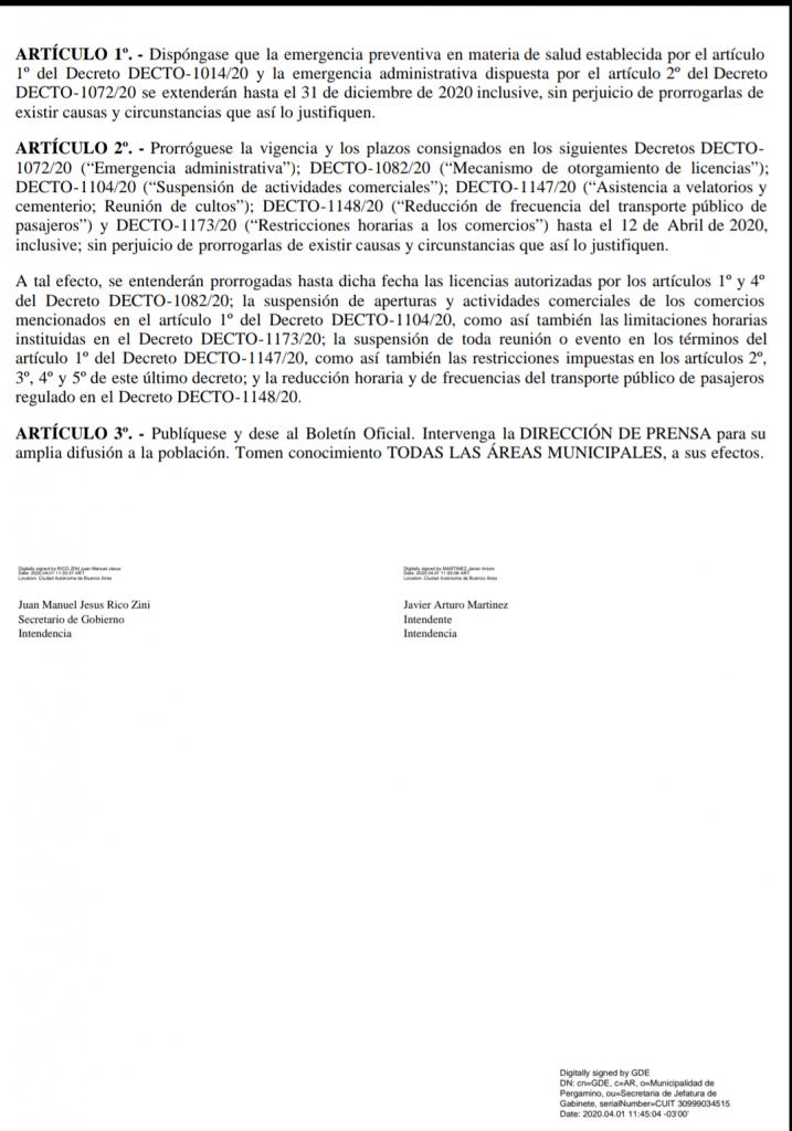 Nuevo Decreto Municipal referido a prórrogas y plazos 3