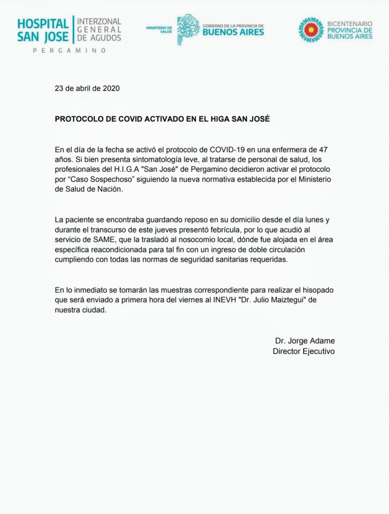"""CORONAVIRUS: se activó nuevamente el protocolo por """"caso sospechoso"""" 1"""