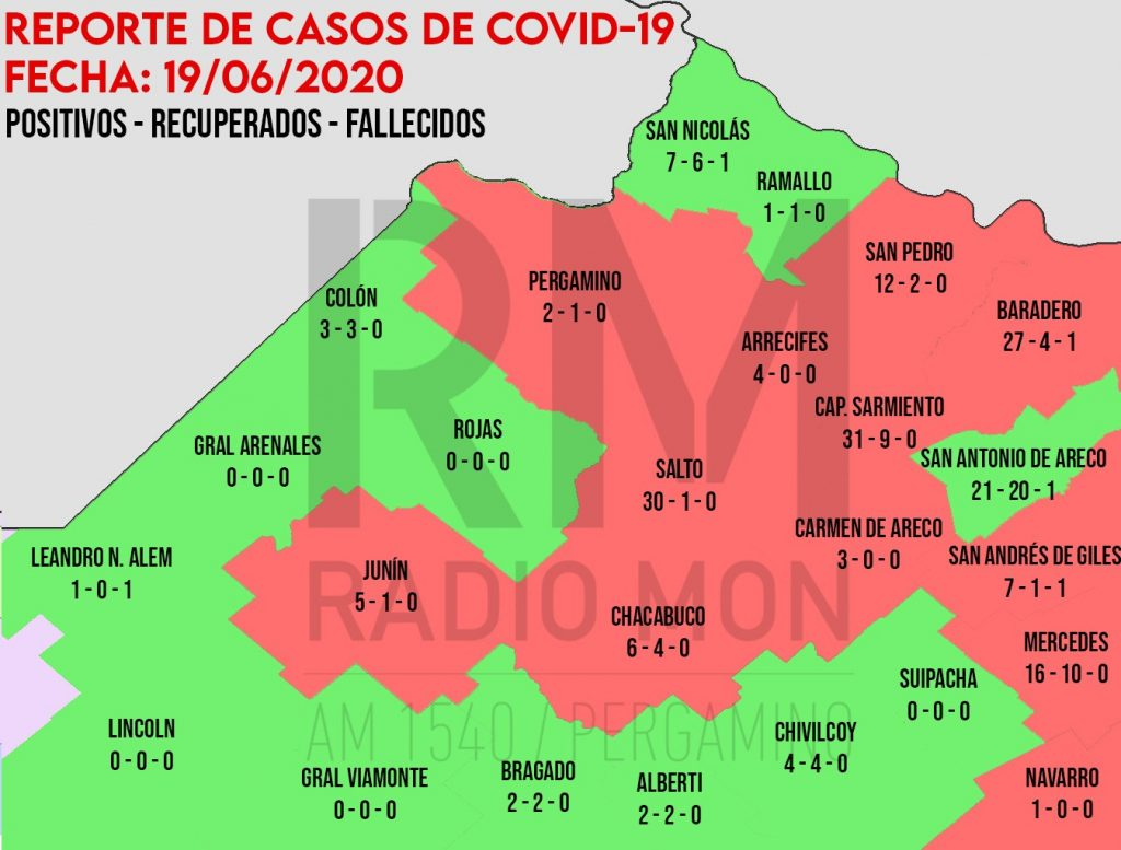 CORONAVIRUS: Mapa regional de COVID-19 - Radio Mon 1