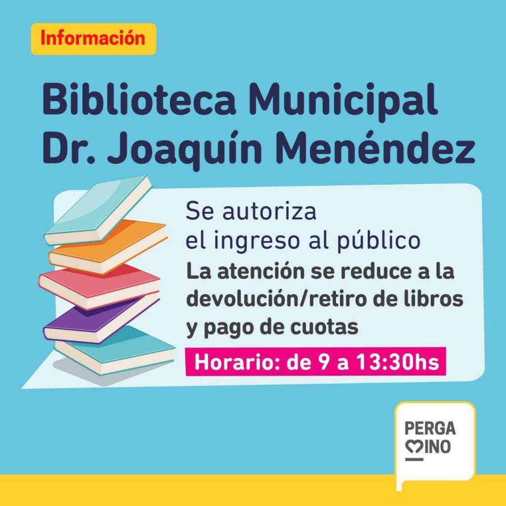 La Biblioteca Pública Dr Joaquín Menéndez reabre sus puertas hoy lunes 1