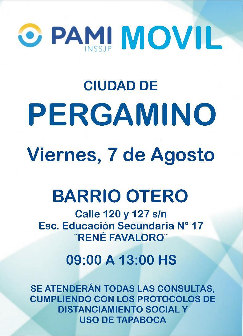 PAMI Móvil estará hoy en La Violeta y el Viernes en Otero 2