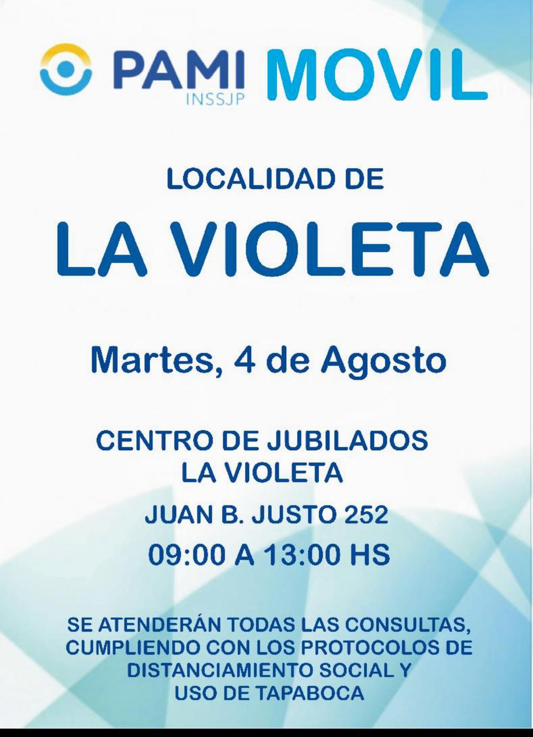 PAMI Móvil estará hoy en La Violeta y el Viernes en Otero 1