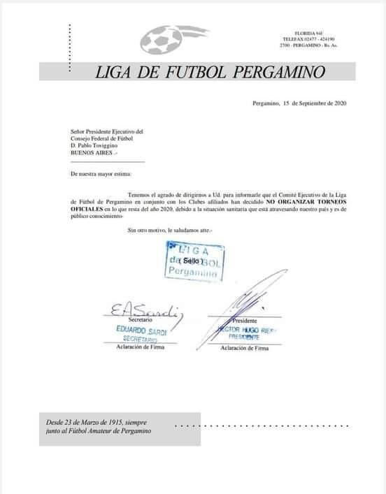Suspendido el fútbol oficial en Pergamino hasta el año que viene 1