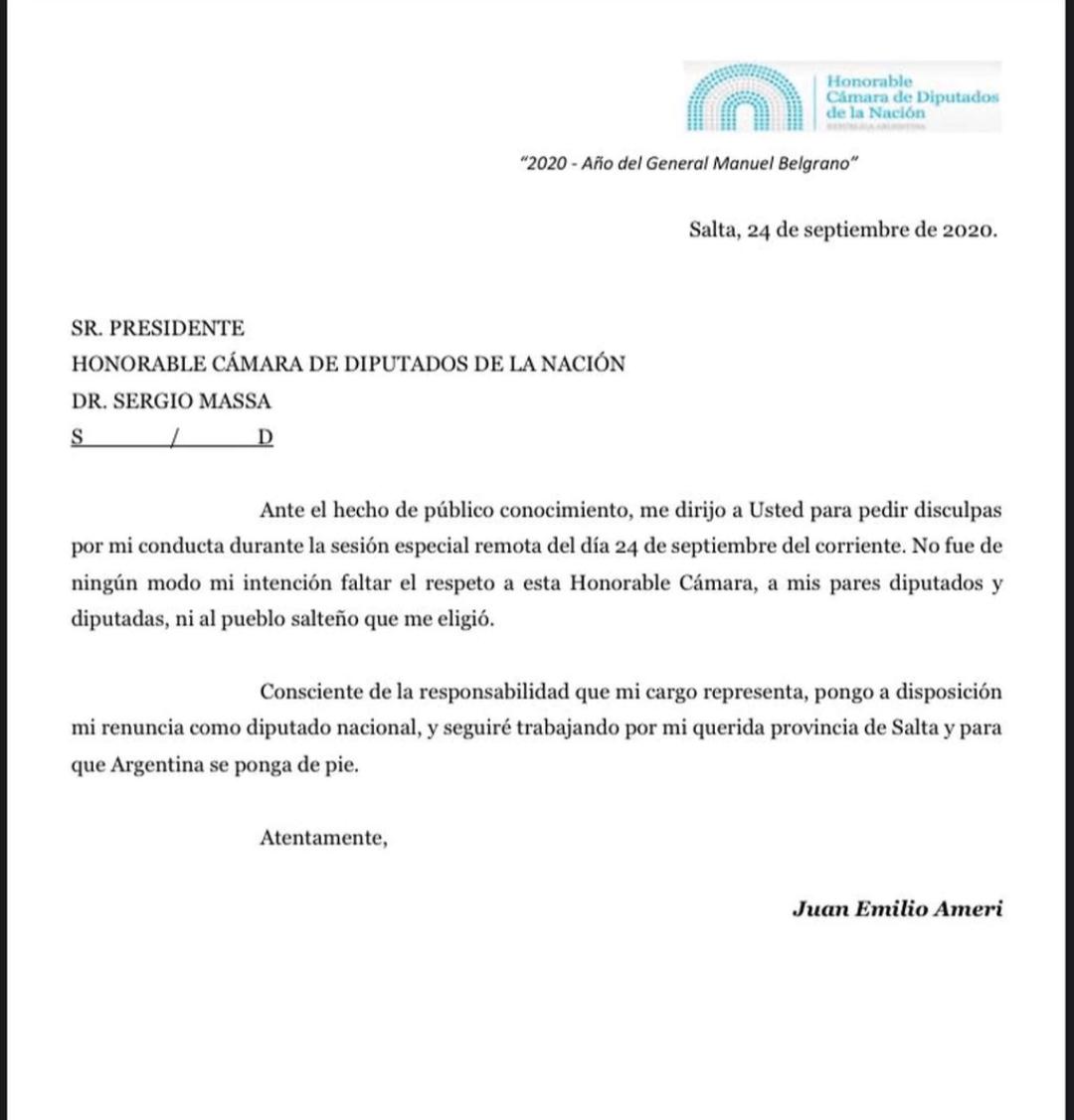 TRAS EL ESCÁNDALO: Renunció el diputado Ameri 1