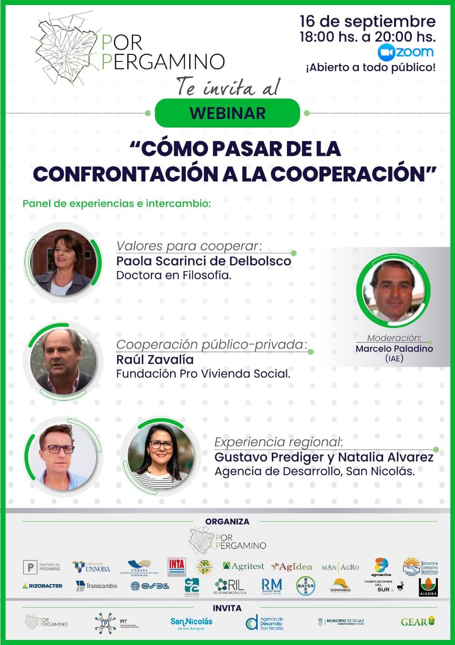 """Fundación por Pergamino invita a toda la comunidad al próximo webinar gratuito: """"Cómo pasar de la confrontación a la cooperación"""" 1"""