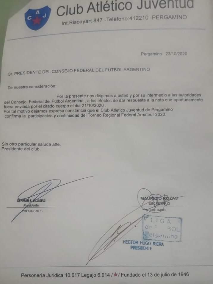 TORNEO REGIONAL FEDERAL: Juventud confirmó la continuidad en el torneo 1