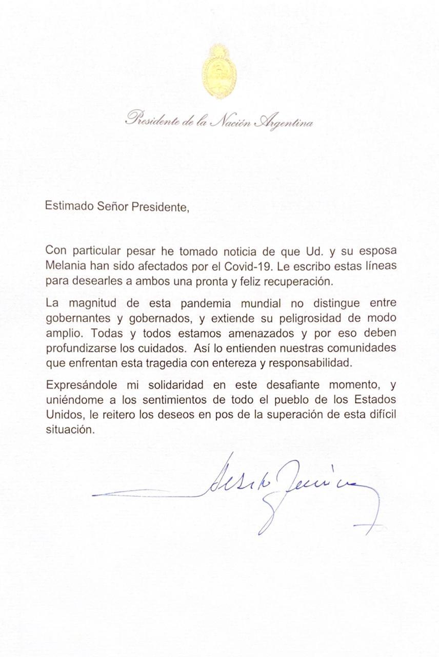 El Presidente Alberto Fernández le escribió a Trump 1
