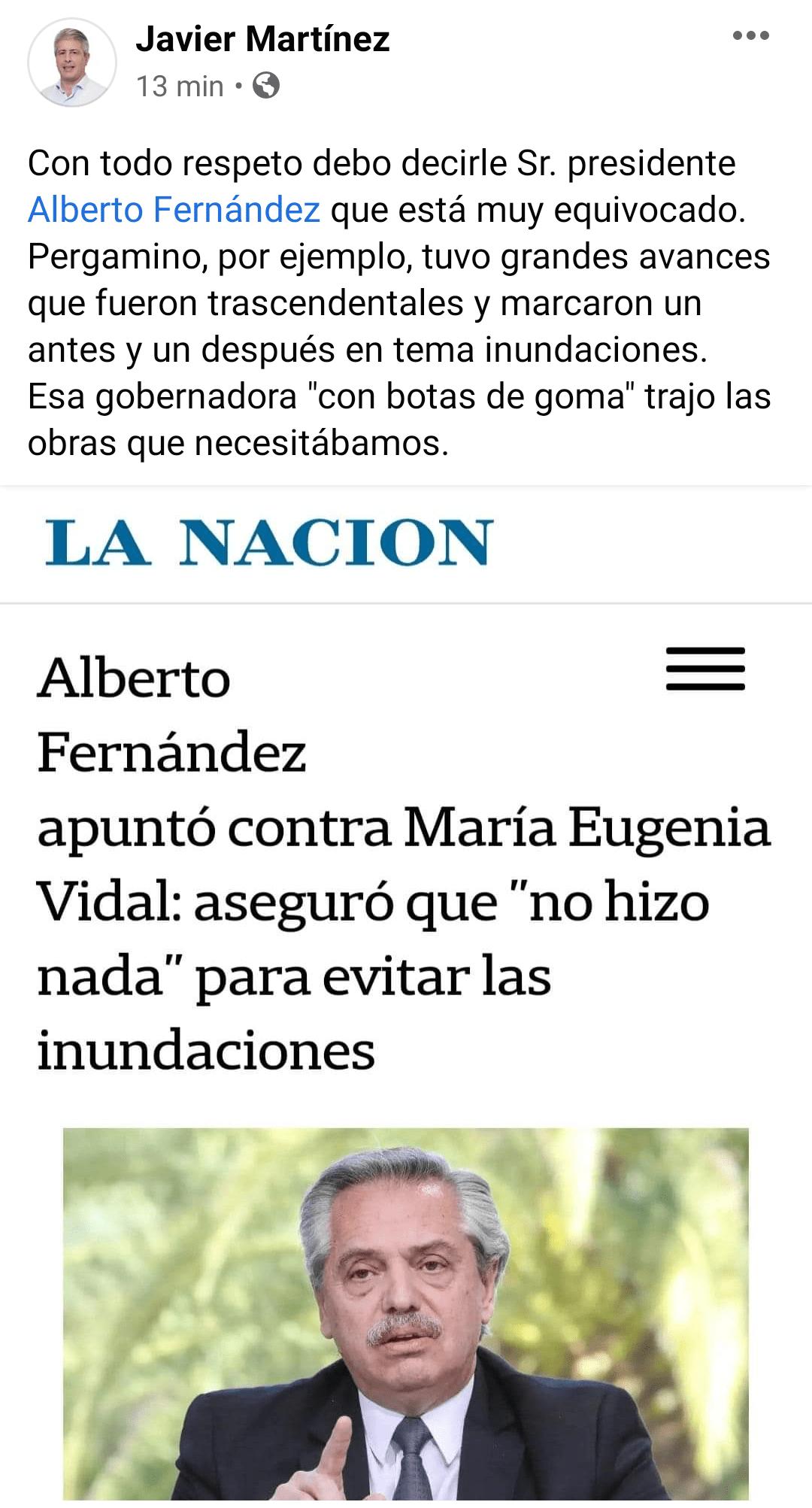 Martínez criticó a al presidente por sus dichos contra la ex gobernadora Vidal 1