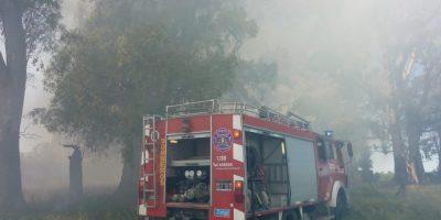 Bomberos combatió las llamas de un campo cerca de Pinzón 10