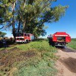 Bomberos combatió las llamas de un campo cerca de Pinzón 2