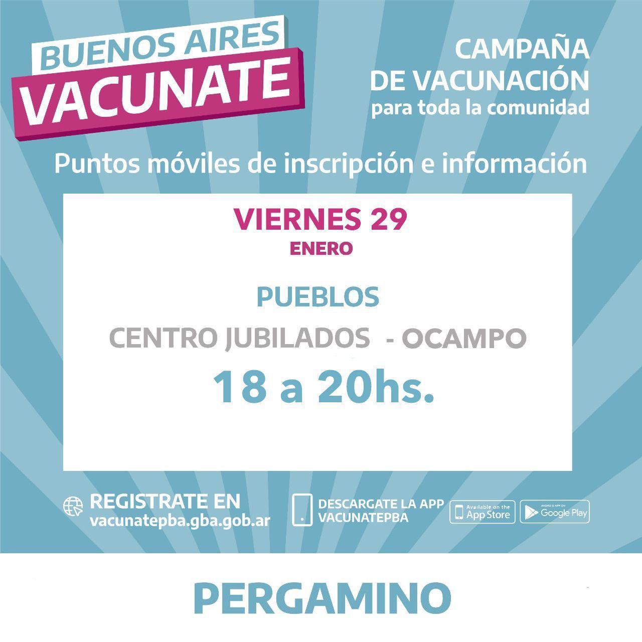Continúan las inscripciones para vacunarse contra el COVID-19 en localidades del Partido 3