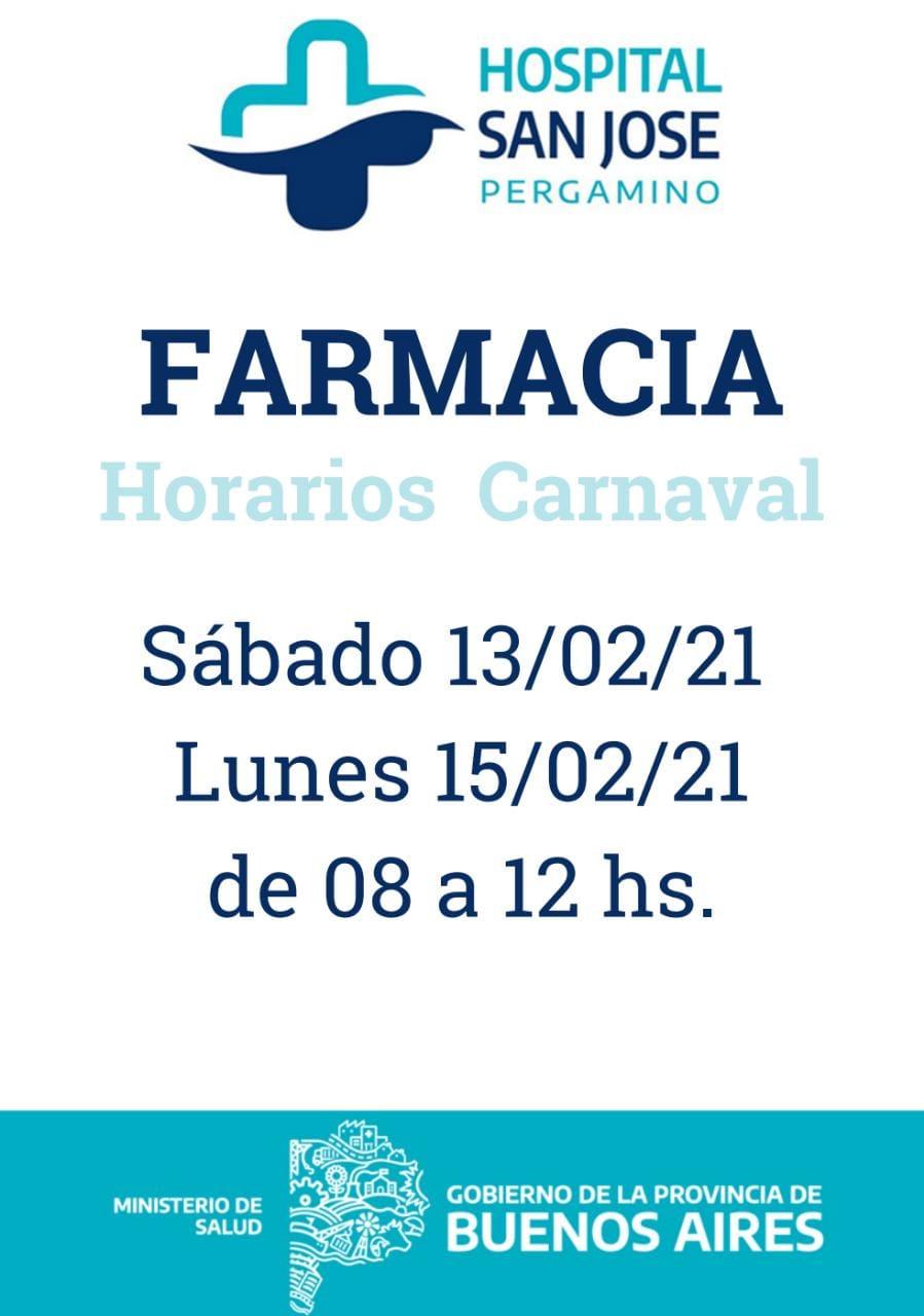 La farmacia del hospital con horario especial por Carnaval 1