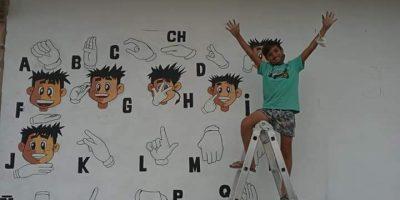 Mural sobre lengua de señas por el reconocido artista local Juani Méndez 11