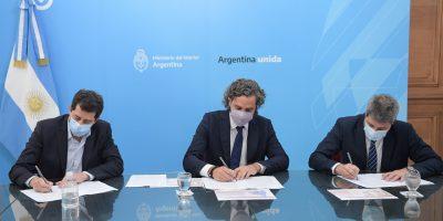 Cafiero, de Pedro y Uñac firmaron un convenio por 700 millones de pesos para mejorar la conectividad digital de San Juan 24