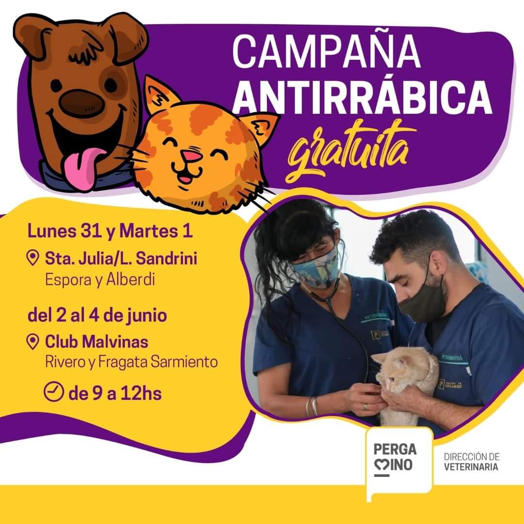 Hoy la Campaña de Vacunación Antirrábica continuará en los Barrios Santa Julia y Malvinas 1