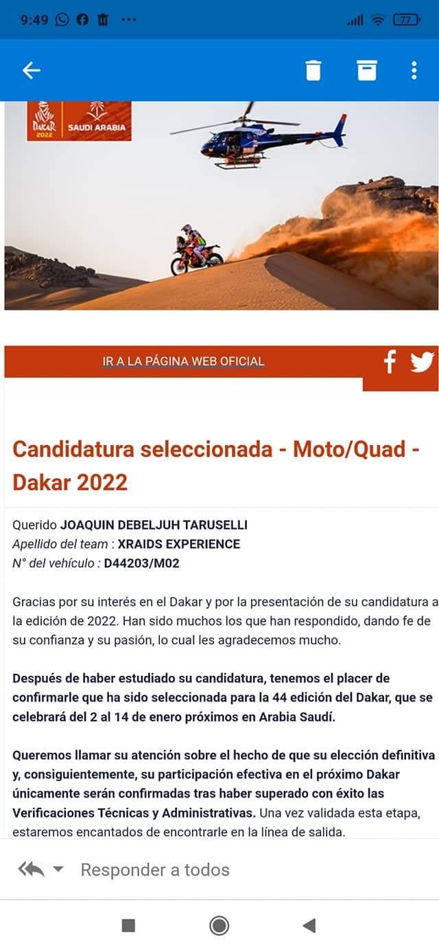 CONFIRMADO: Joaquín Debeljuh Taruselli al Dakar 2022 1