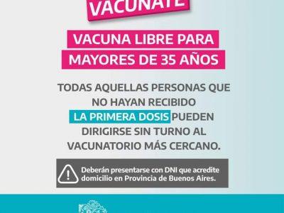 PROVINCIA: Desde hoy vacunación sin turno previo para mayores de 35 años 15