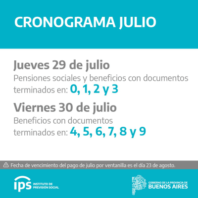 Cronograma de pagos del IPS 1