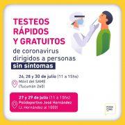 Hoy y el jueves se realizarán testeos en el Polideportivo José Hernández 5