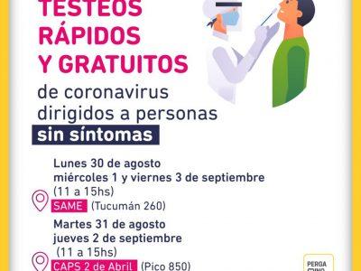 """Este jueves continúan los testeos para asintomáticos en CAPS """"2 de Abril"""" 3"""