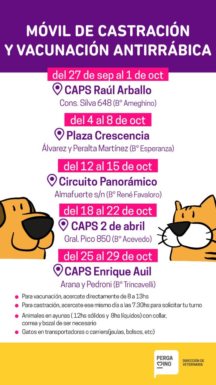 El móvil de castración se encuentra esta semana en el CAPS Raúl Arballo 1