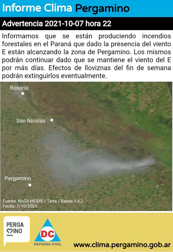 El humo de los incendios del Paraná llegó hasta Pergamino 1