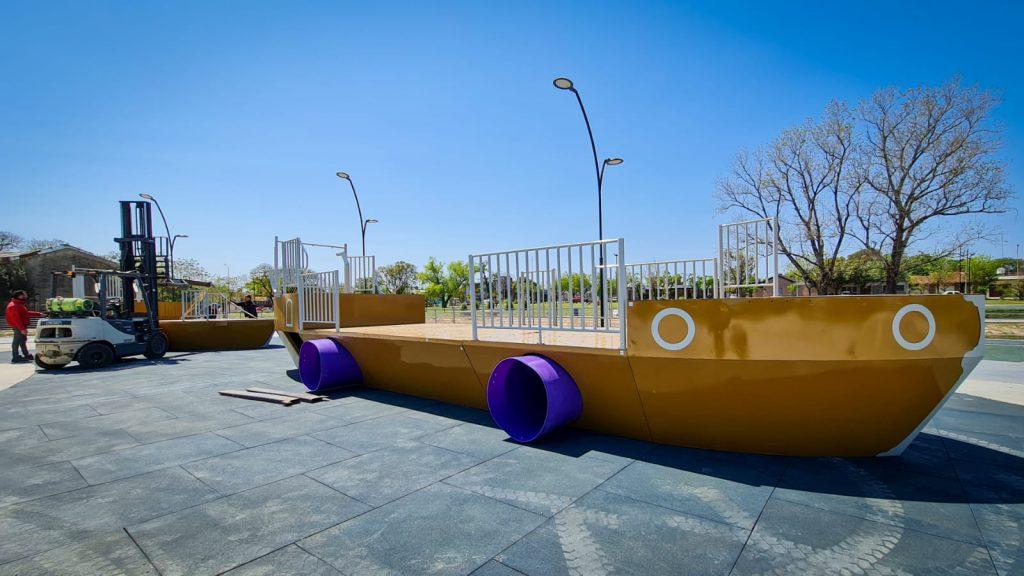Se colocaron juegos en el Parque Belgrano 1